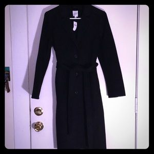 Long black winter wool blend trench from GAP